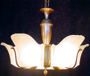 bronze art deco chandelier