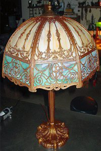 1909 slag glass lamp