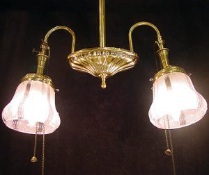 Two Arm Brass Colonial Revival Chandelier