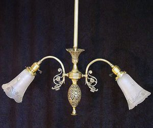 Two Armed Brass Chandelier