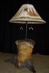 table lamp with beaver art and indian teepees on shade