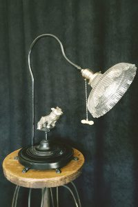 Mack Truck bulldog hood ornament incorporated into a table lamp