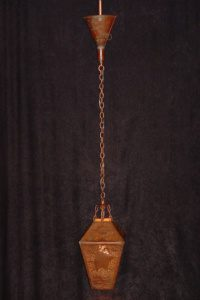 1940s copper folk art pendant light