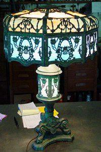 Ornate slag glass table lamp
