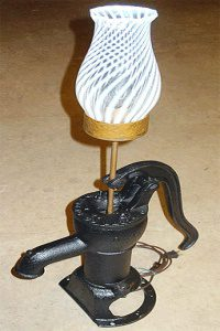 antique water pump converted into a lamp